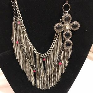 Layer chain fringe Gothic cross statement necklace